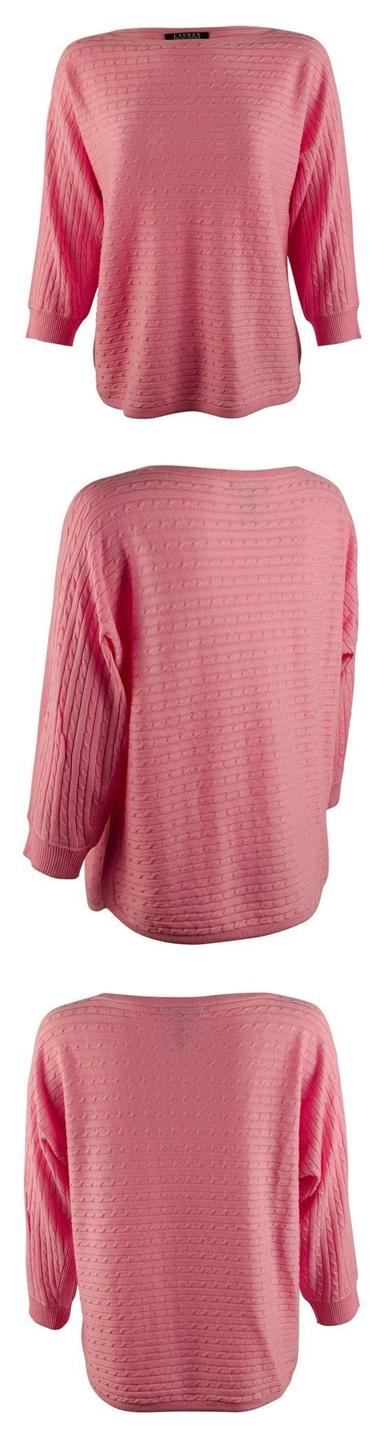$38 - Lauren Ralph Lauren Womens Cable Knit Silk Blend Pullover Top Garden Pink #ralphlauren