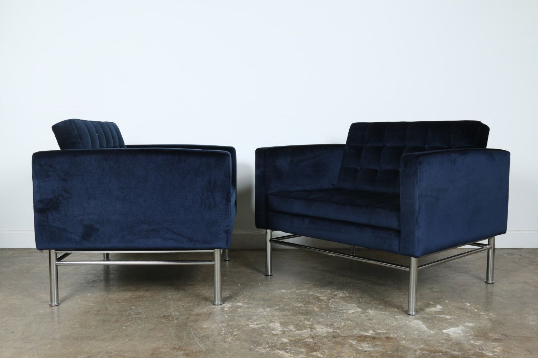 Velvet pair of Mid Century Chrome Lounge Chairs by MidCenturyShopLA on Etsy https://www.etsy.com/listing/493172544/velvet-pair-of-mid-century-chrome-lounge