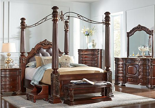 Southampton Walnut 6 Pc Queen Canopy Bedroom For The Home Canopy