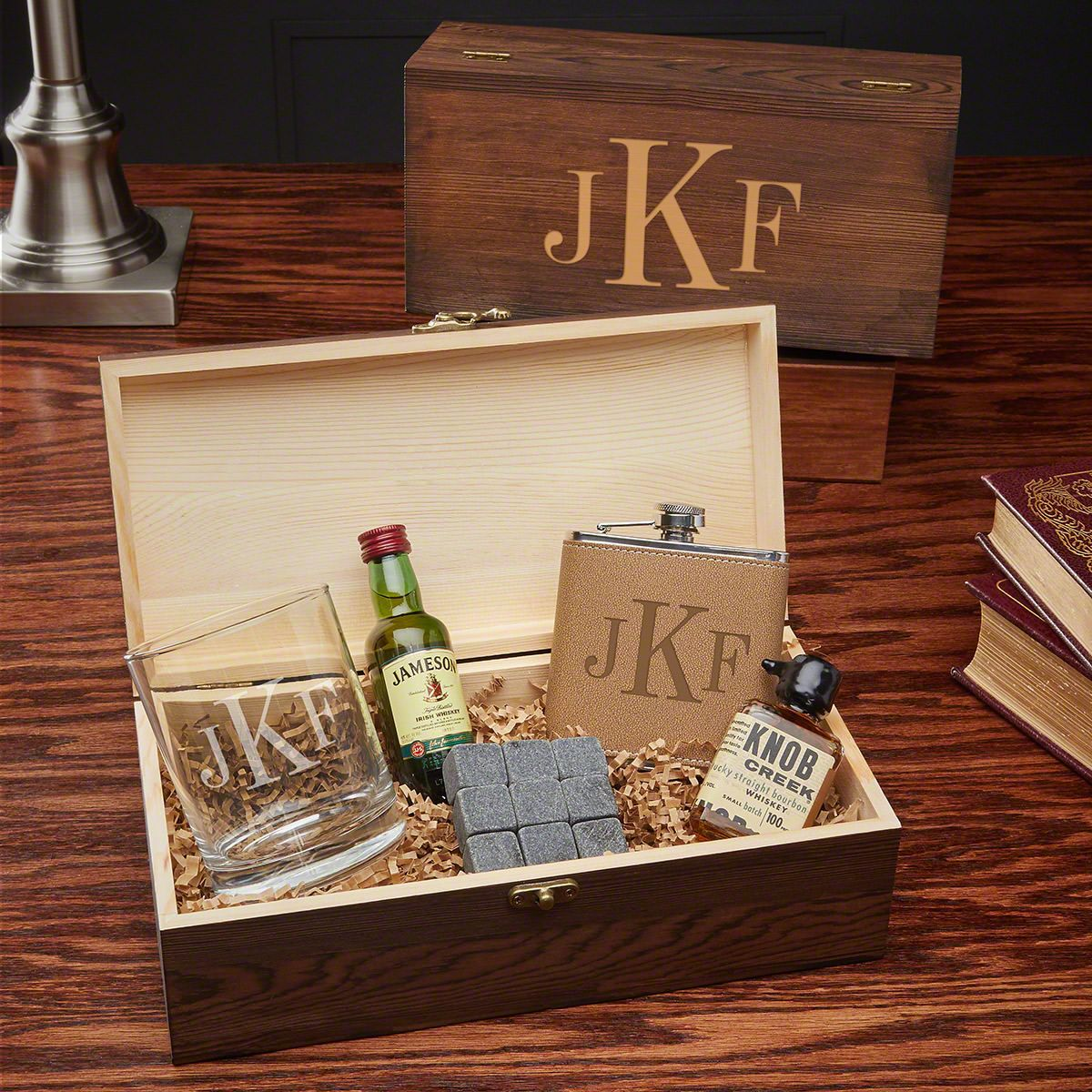 Classic monogram custom whiskey gift set for men whiskey