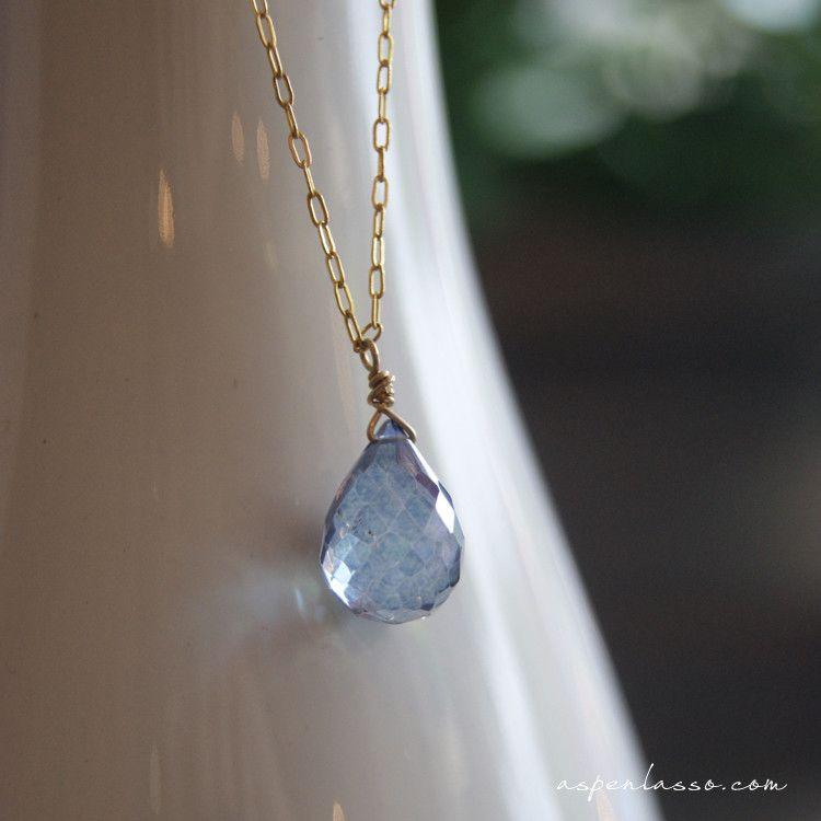Mystic Blue Topaz Single Drop Gemstone Necklace from ASPEN LASSO