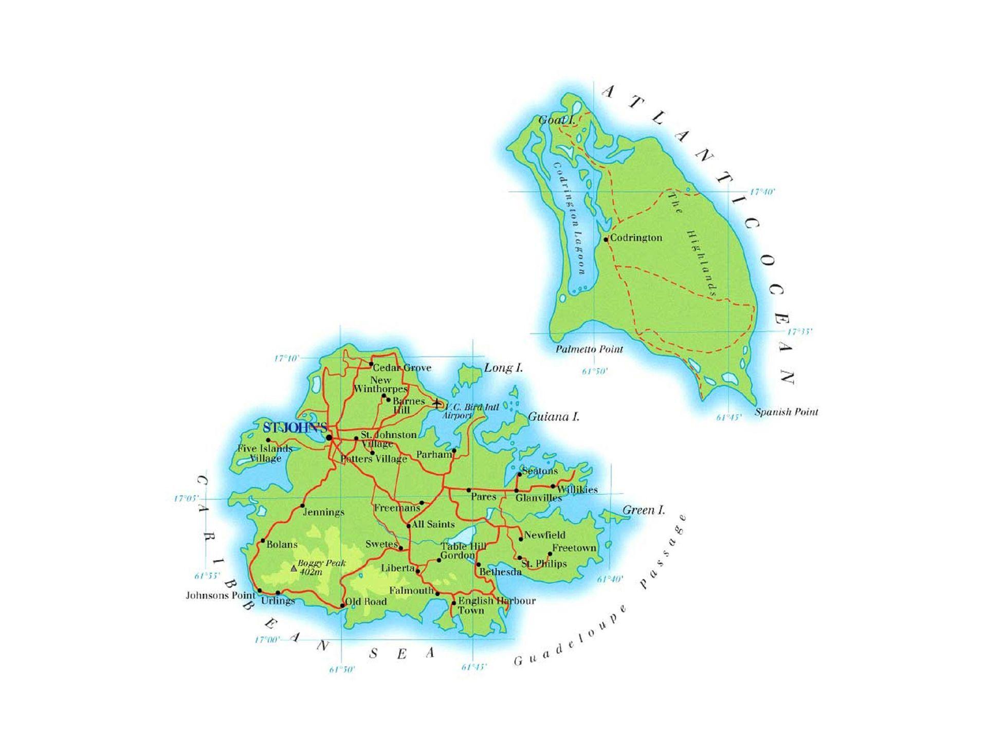 Carte Antigua et Barbuda eevasioncom Les cartes de chaque pays