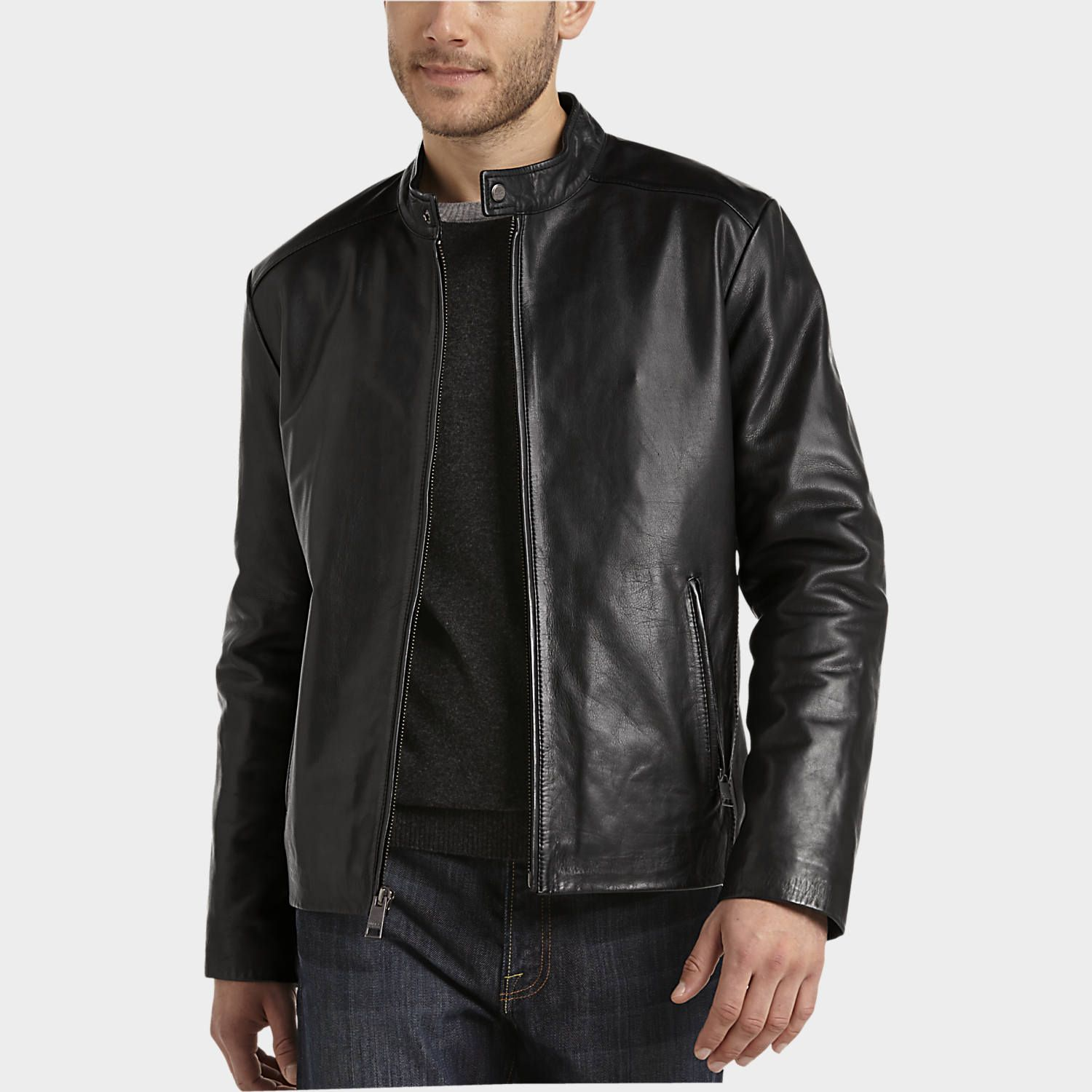 Buy a Marc New York Black Leather Modern Fit Motorcycle