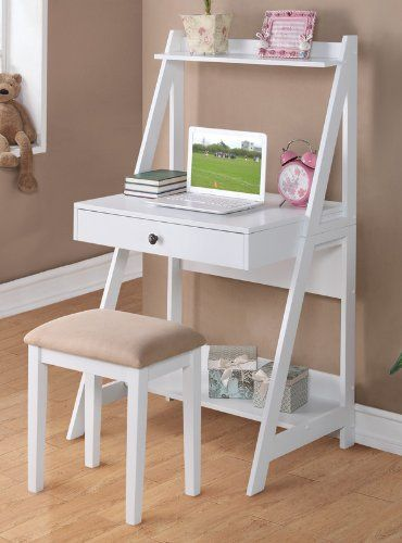 separation shoes 48e24 609c0 2 pc White finish wood leaning wall desk with shelves and ...