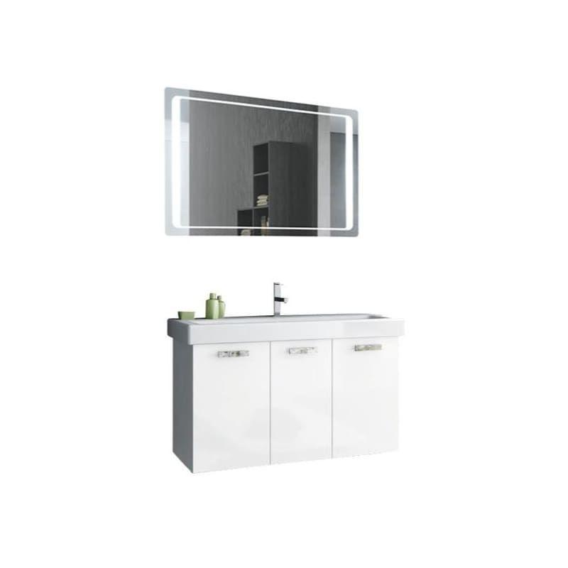 "Nameeks C120 ACF 37-6/15"" Wall Mounted Vanity Set with Wood Cabinet Ceramic Top Glossy White Fixture Vanity Single"