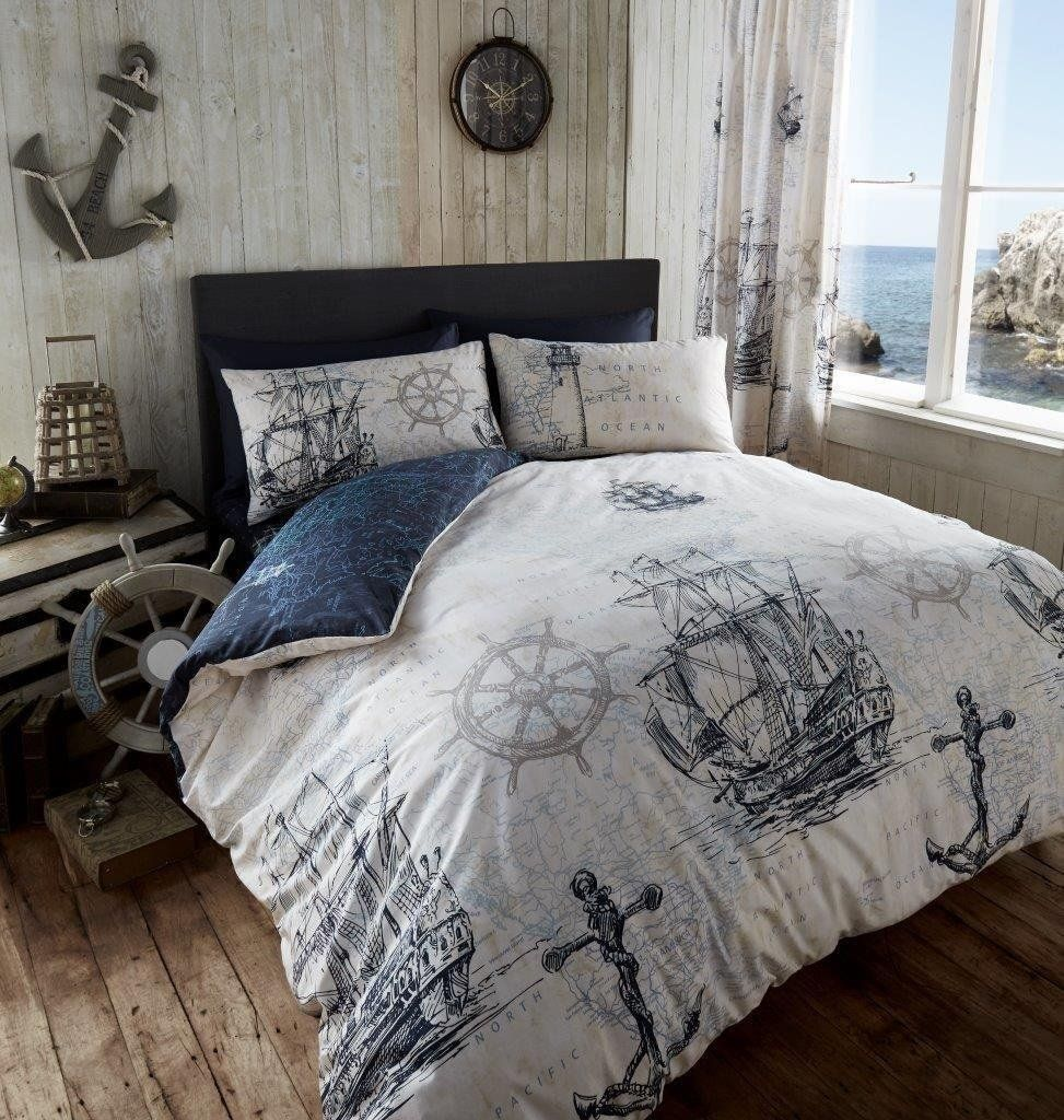 Adventure Duvet Quilt Cover Nautical Boat Ship Anchor Double Bedding Set Navy Nautical Bedding Sets Nautical Bedroom Bed Design