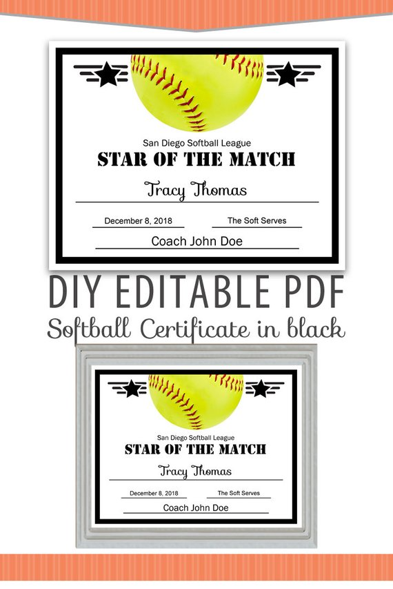 Editable PDF Sports Team Softball Certificate Diy Award