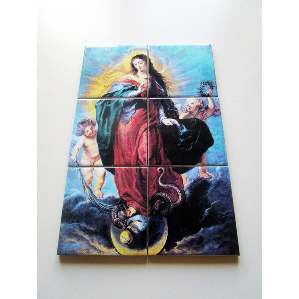 Virgin Mary art religious wall art collectible tile mural Immaculate... (€54) ❤ liked on Polyvore featuring home, home decor and wall art
