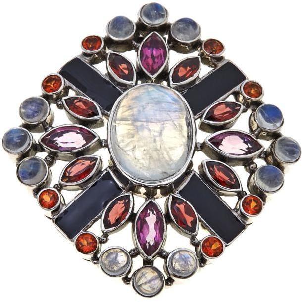 Nicky Butler Multigemstone Sterling Silver Enamel Pin/Pendant