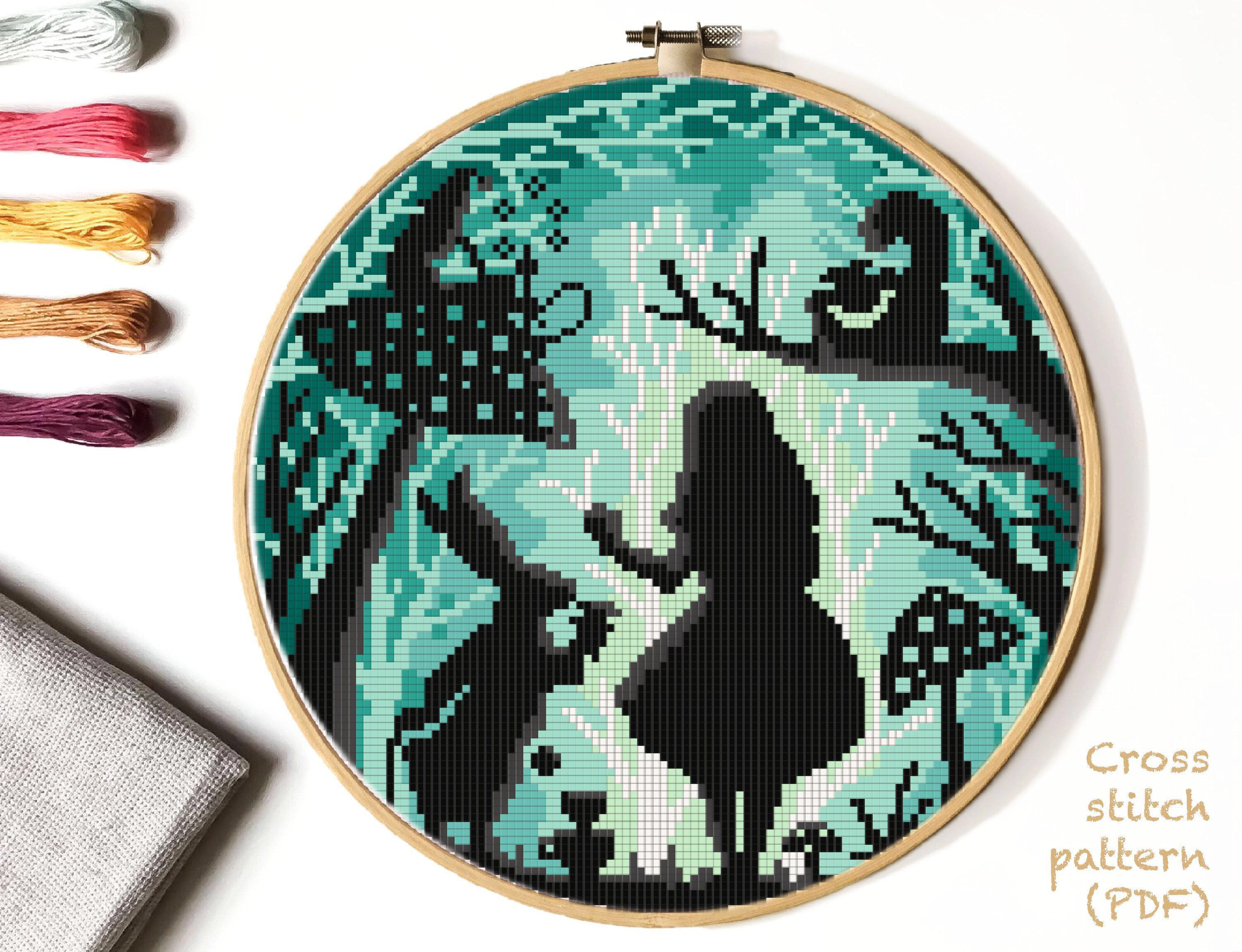 Photo of Nature Cross Stitch Pattern, easy counted cross stitch chart, landscape, fairy tale, animals cross stitch, hoop art, embroidery, instant PDF