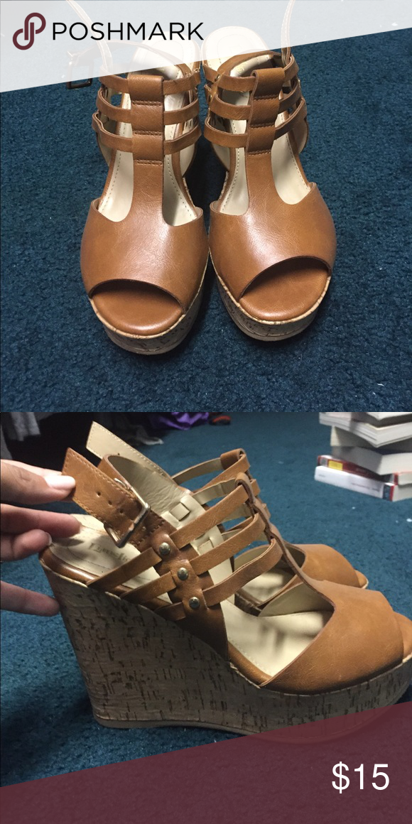 775b82670a0 brown open-toe LimeLight wedges gold detailing on side and buckle Shoes  Wedges