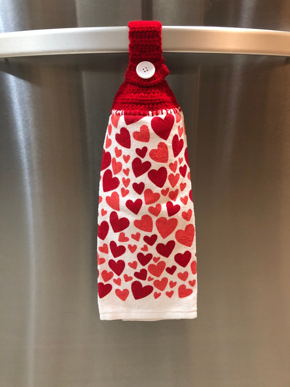 Crochet Top Towel Hanging Dish Towel Button Top Hand Towel