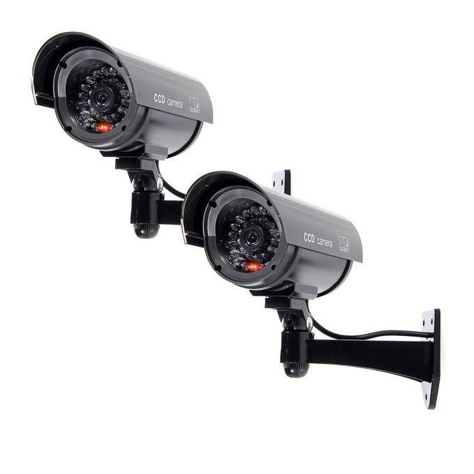 4 Solar Dummy Security Camera Fake Flashing Light Infrared LED CCTV Surveillance