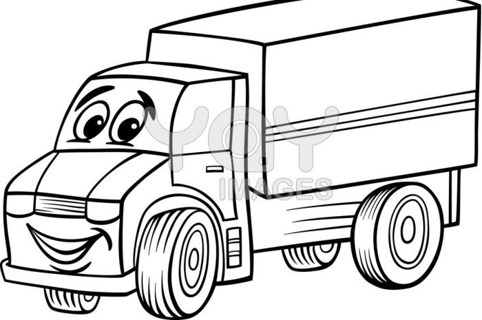 Funny Truck Cartoon Black And White Cartoon Cartoon