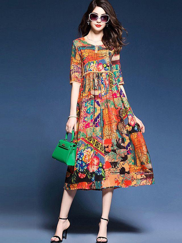 69264d4b44c4e Kadın Kumsal Tatil Büyük Beden Sade Çin Stili Sofistike A Şekilli Kılıf Çan  Elbise Desen Yuvarlak Yaka Midi İpek Bahar Yaz Yüksek Bel - EUR €22.55 !