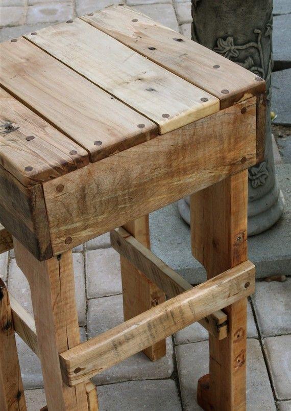 Rustic Pallet Wood Tall Stool Wood Pallets Diy