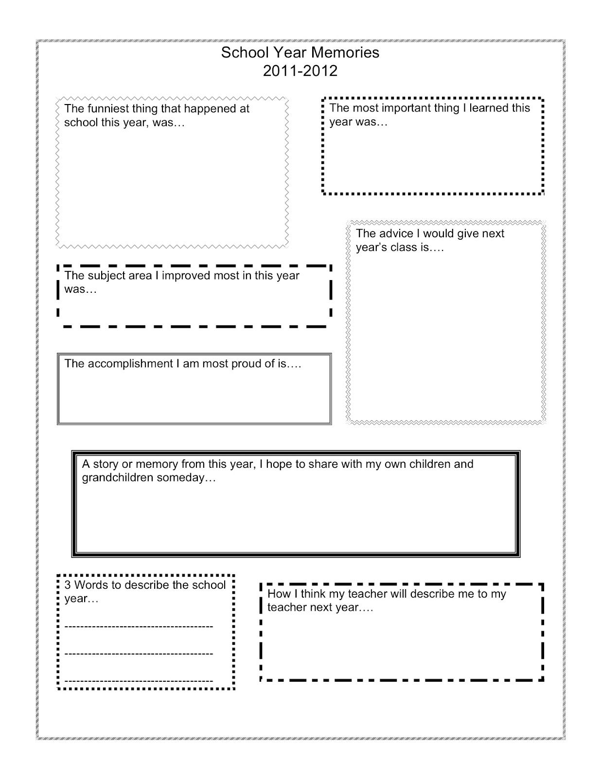 End of the School Year Reflection - Thinking Zing | School reflection,  School year memories, School memory book printables