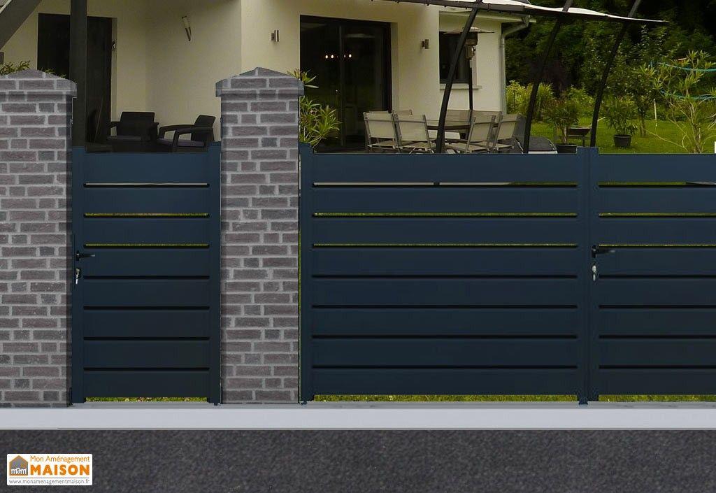 portail en aluminium battant portillon