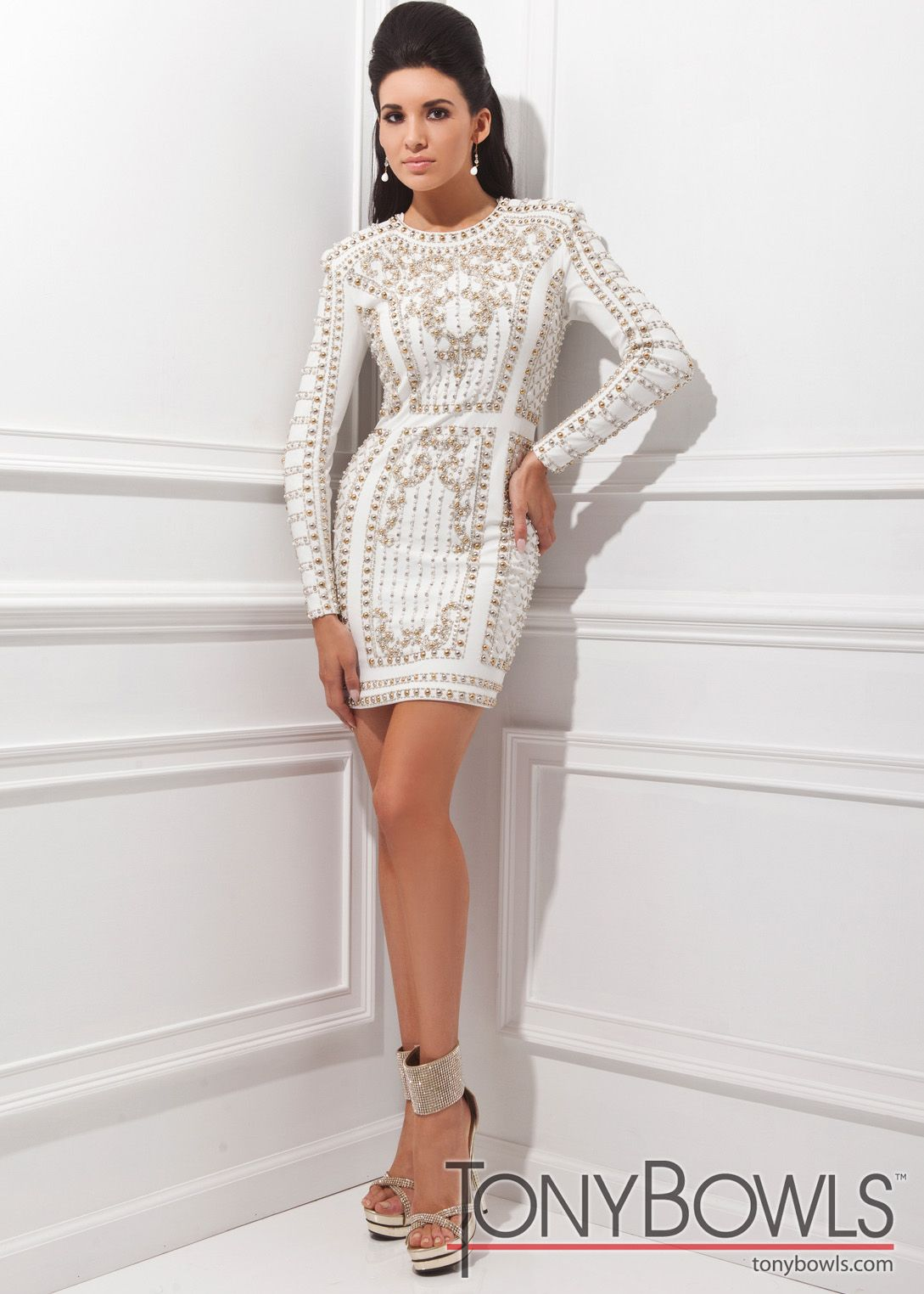 Tony Bowls TS21452 - White Beaded Fitted Jersey Cocktail Dresses ...