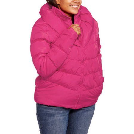 0a78527ce7d49 Climate Concepts Women s Plus-Size Puffer Coat With Shawl Collar ...