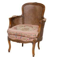 19th Century Louis XV Walnut Bergere