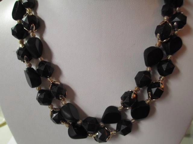 NECKLACE BLACK SHINY MULTISTRAND LUCITE BEADED DOUBLE STRAND W. GERMANY VINTAGE