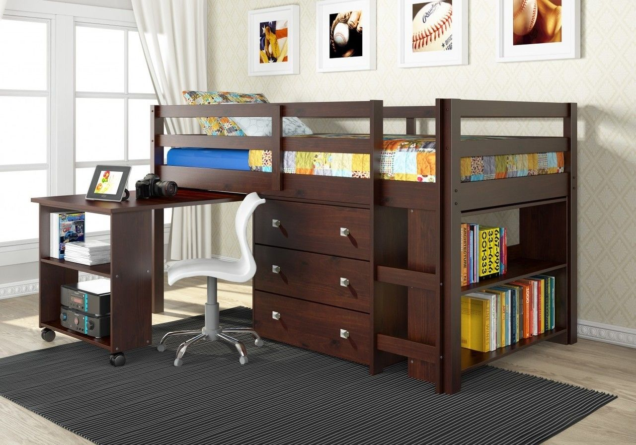 Loft bed with desk underneath  Twin Low Loft with Desk Chest u Bookcase  Cappuccino  Lofts