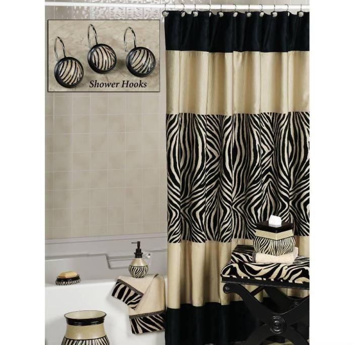 Zebra Shower Curtain And Hooks With Images Zebra Print Bathroom Black Shower Curtains Animal Print Bathroom