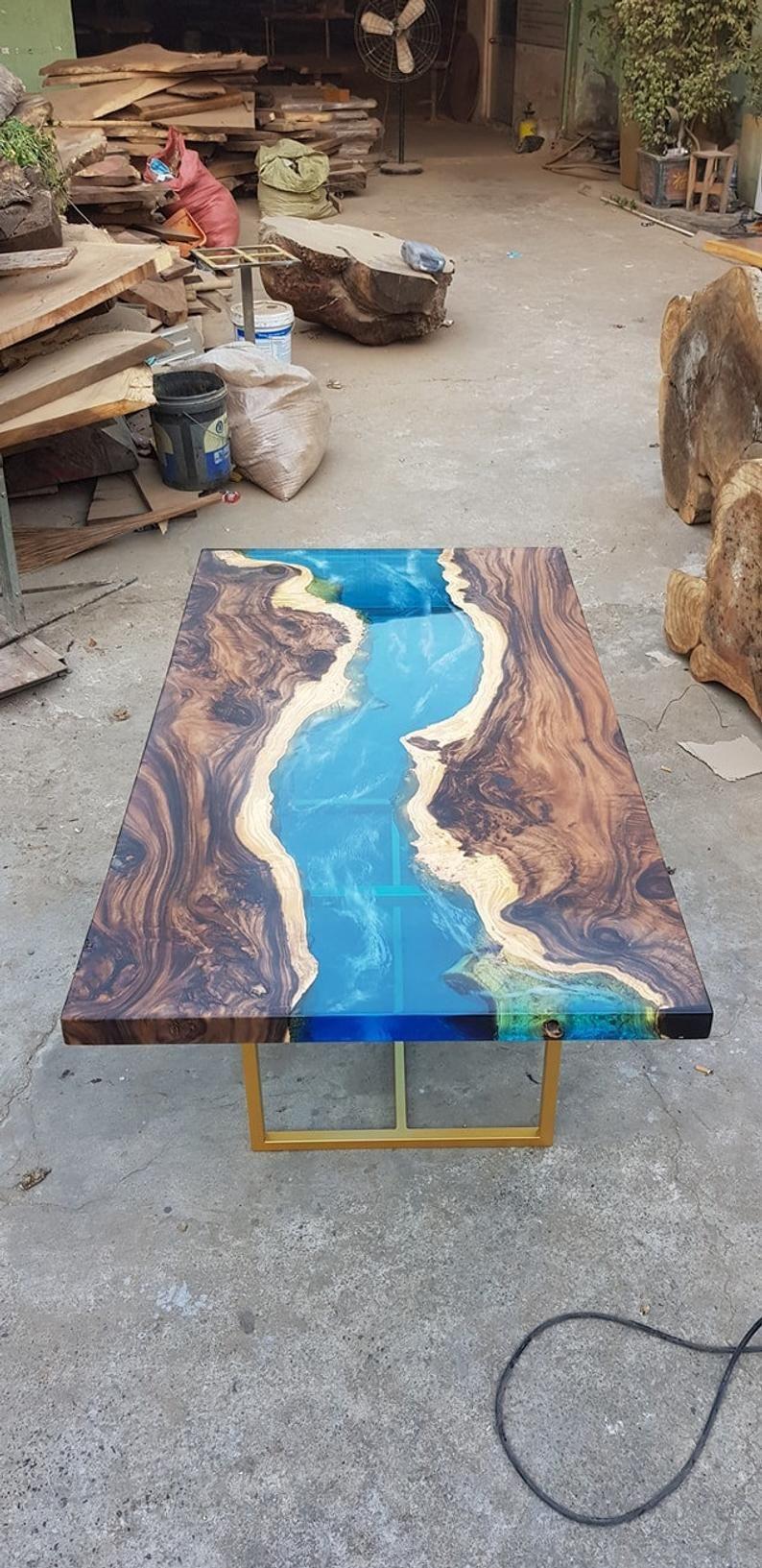 Blue River Table Top With Epoxy Inlay Senna Siamea Wood