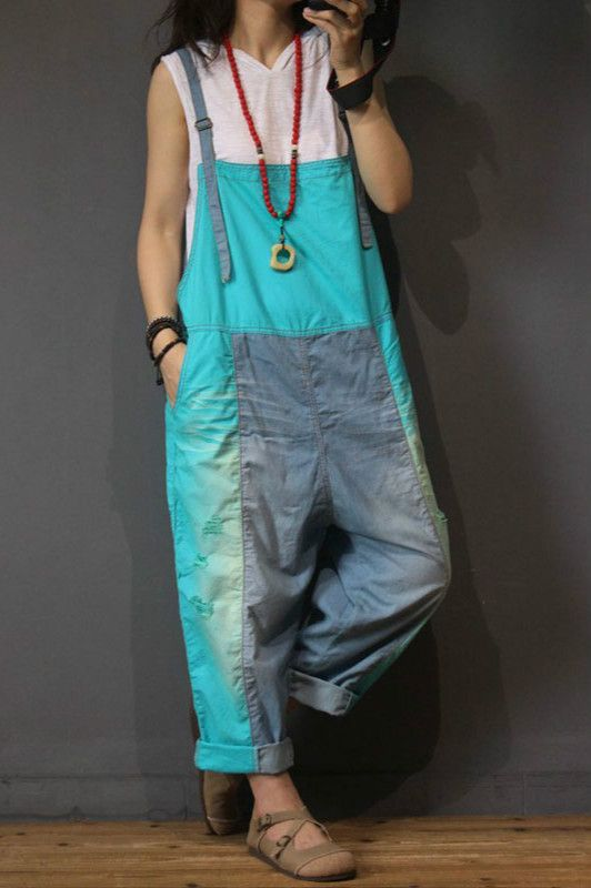 Color Block Fashion Baggy Overalls Womans Cotton Jumpsuits in Yellow Blue One Size