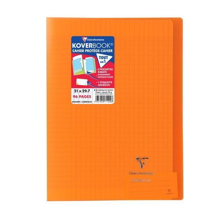 CLAIREFONTAINE – Carnet de notes KOVERBOOK – 21 x 29,7 – Seyès 96 pages – Couverture polypro translucide – Couleur orange   – Products