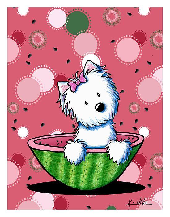 Watermelon Westie Girl By Kim Niles Kinder Bilder Zeichnungen Kinderbilder