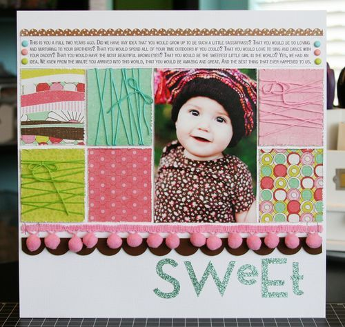 lots of journal room, use of scraps and easy to focus on picture (Sweet, by Laura Vegas)