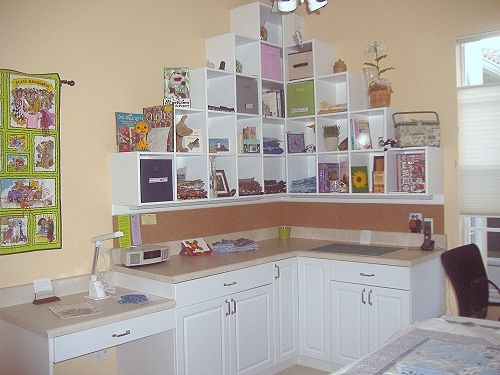 Craft Room. I just love this concept...Adds some fun to the room...just make sure you have a ladder!