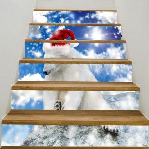 #RoseGal.com - #RoseGal Christmas White Bear Printed Stair ...