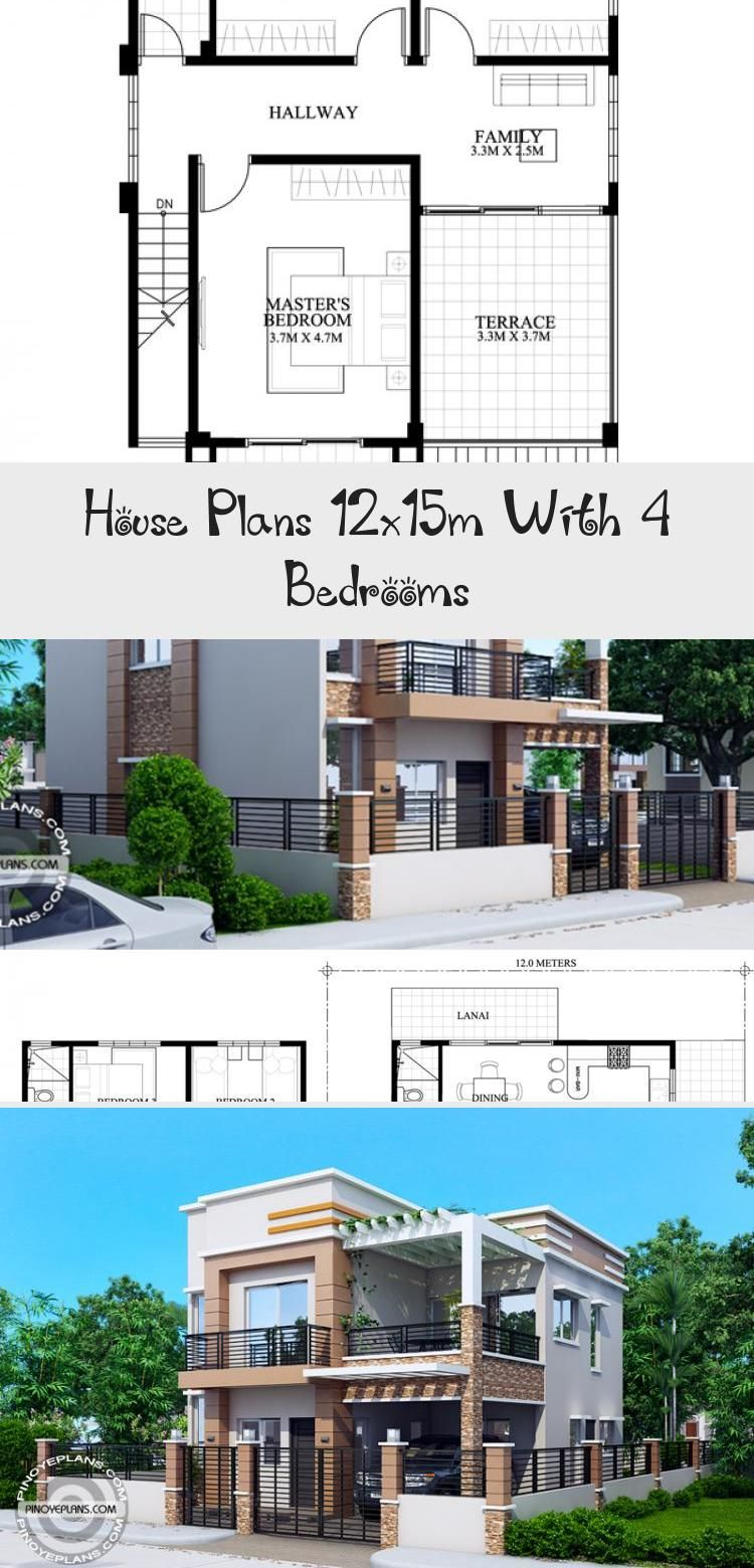 House Plans 12x15m With 4 Bedrooms Home Ideassearch Houseplanswithgarage Bungalowhouseplans House In 2020 House Plans Courtyard House Plans Affordable House Plans