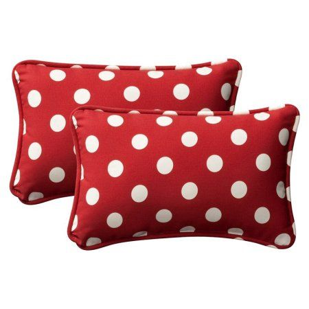 Pillow Perfect Outdoor/ Indoor Polka Dot Red Rectangle Throw Pillow (Set of 2)