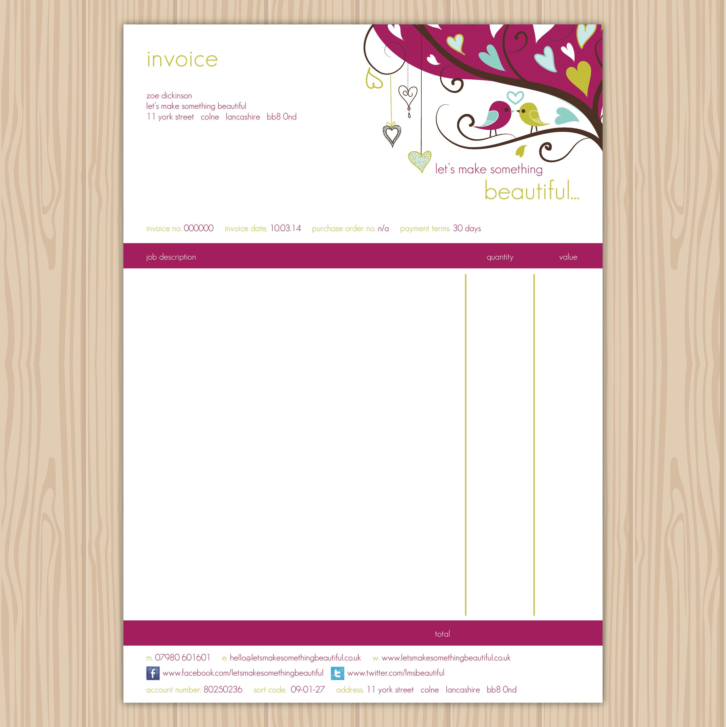Let\'s Make Something Beautiful Invoice | Customised Xero Invoice ...