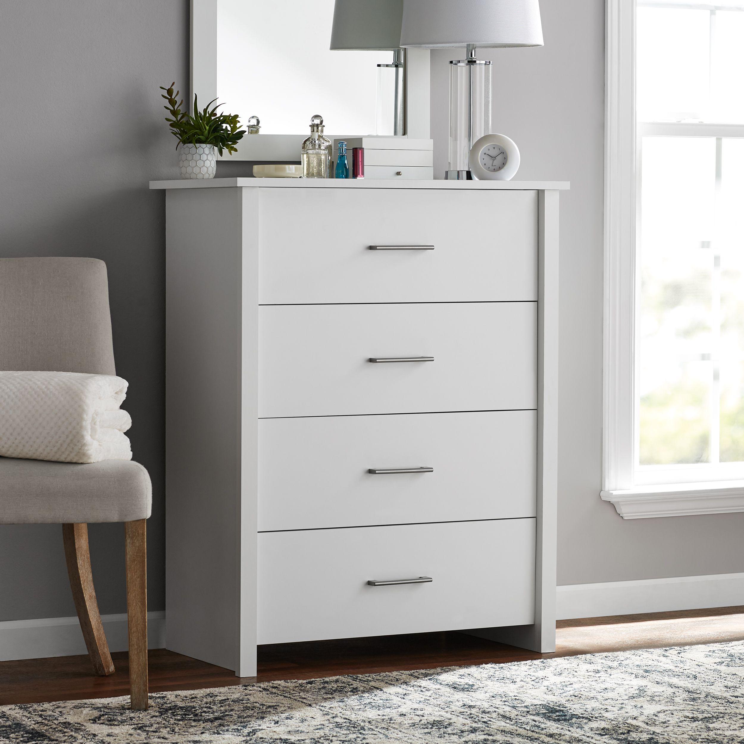 Mainstays Hillside 4 Drawer Dresser Soft White Finish Walmart Com In 2021 Dresser Drawers 4 Drawer Dresser Bedroom Chest Of Drawers 4 drawer chest of drawers