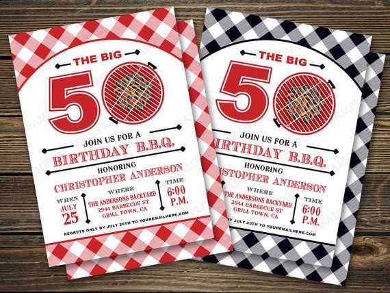 bbq birthday party invitation 50th 60th 70th by papersunstudio