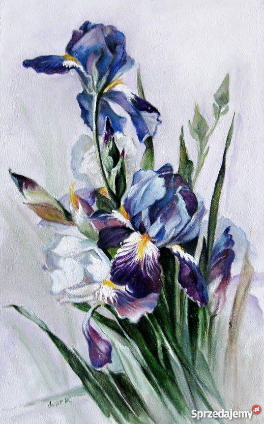 Kwiaty Irysy Obraz Olejny Recznie Malowany Painting Fantasy Art Art