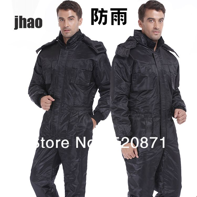 New arrival Free shipping Black Men's protective coverall cotton-padded jacket windproof rainproof clothing car-wash uniform US $87.99