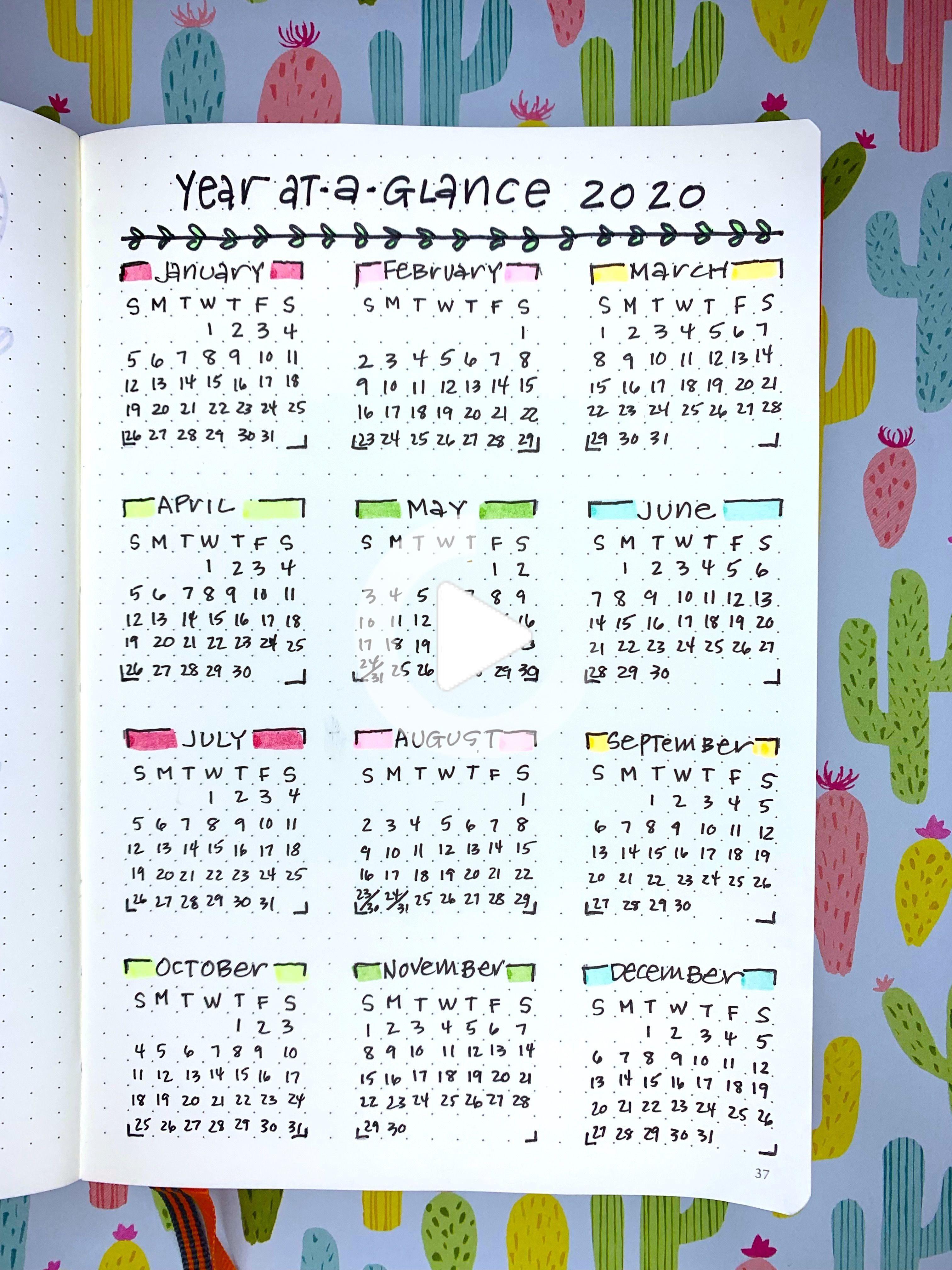 Bullet Journal Calendar 2020 — Sweet PlanIt