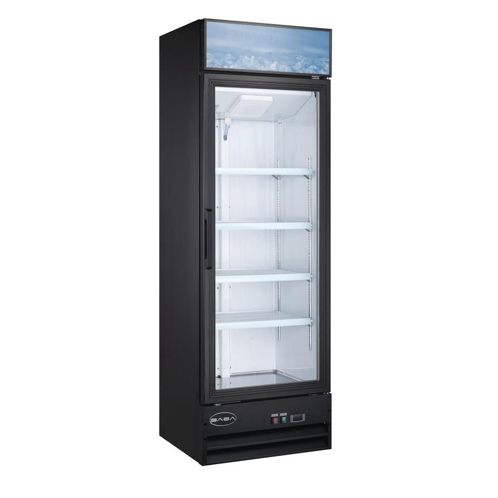 Saba 25 In W 13 Cu Ft One Glass Door Merchandiser Commercial Reach In Upright Refrigerator Cooler In Black Glass Door Refrigerator Cooler Upright Freezer