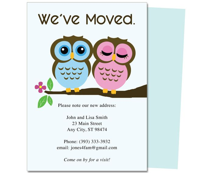 Moving Announcements And New Address Postcards Adorable Pair Of Owls Printable Just Moved Card Template Design