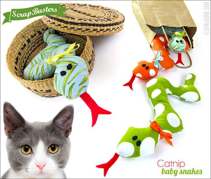 ScrapBusters Baby Snakes Catnip Kitty Toys Sew4Home