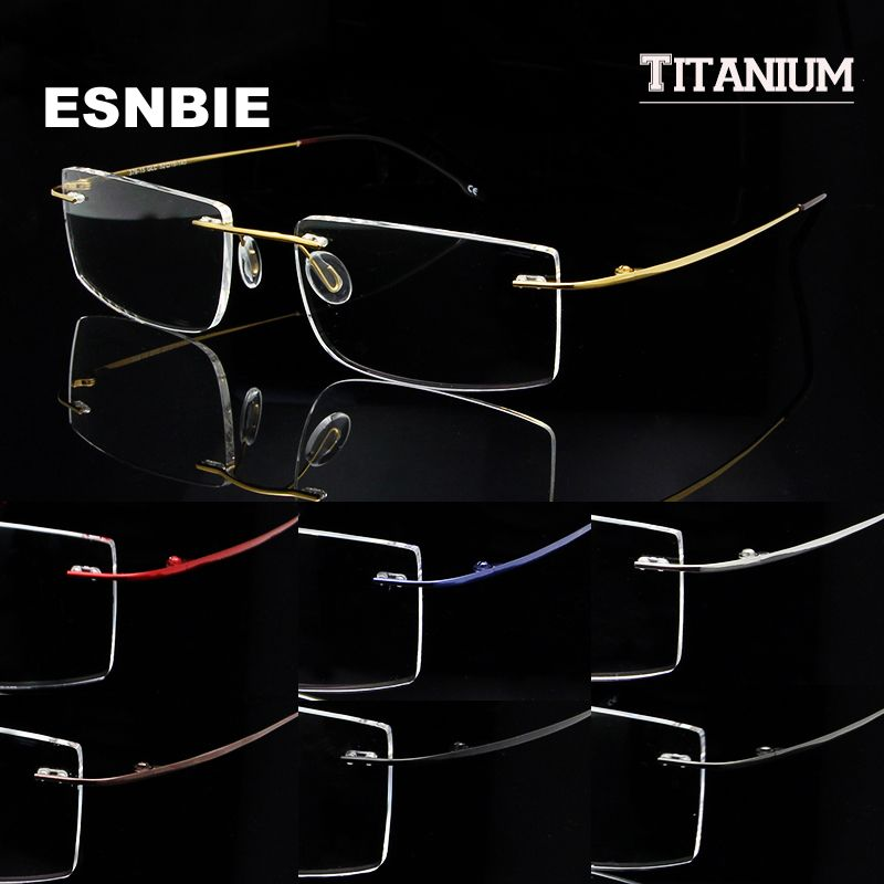 Esnbie Memory Titanium Glasses Frame Men Rimless Eyewear Frames