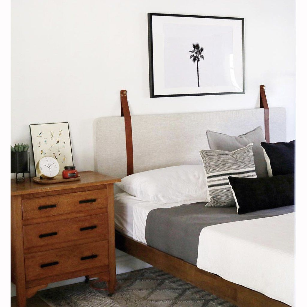 Wall Hung Headboard Cushion with Leather Straps