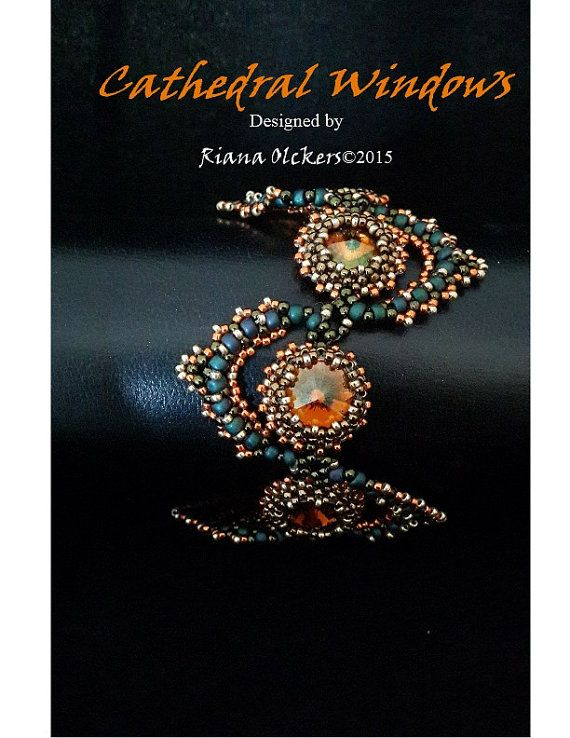 Beading Pattern Right Angle Weave and Peyote Stitch Tutorial CATHEDRAL WINDOWS