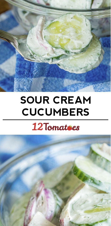 Sour Cream Cucumber Salad Recipe Sour Cream Cucumbers Creamed Cucumber Salad Cucumber Recipes